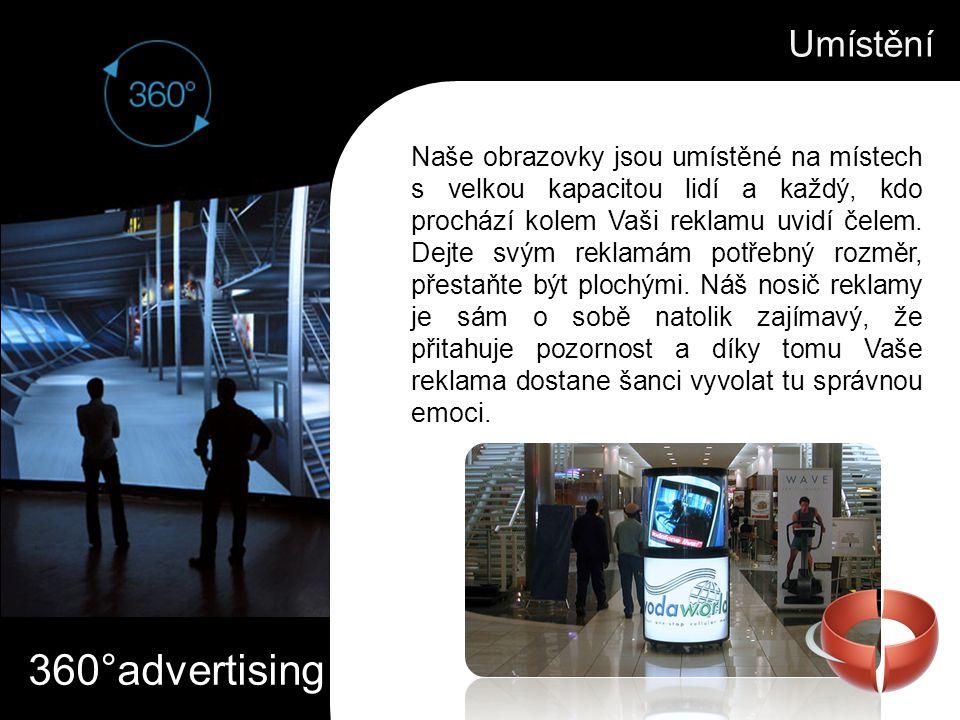 360°advertising Umístění Naše obrazovky jsou umístěné na místech s velkou kapacitou lidí a každý, kdo prochází kolem Vaši reklamu uvidí čelem. Dejte s
