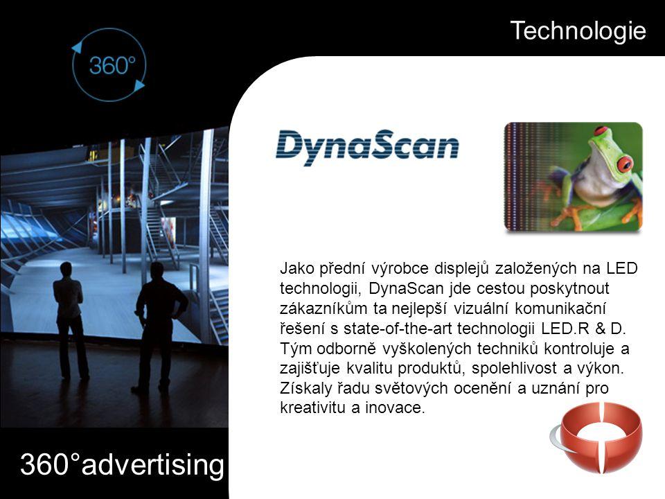 360°advertising Pomocí patentované technologie předení LED, DynaScan 360 ° video displej produkuje jasný, ostrý, vysoce kontrastní obraz ve zcela unikátní, elegantní, okem zachytitelné formě.