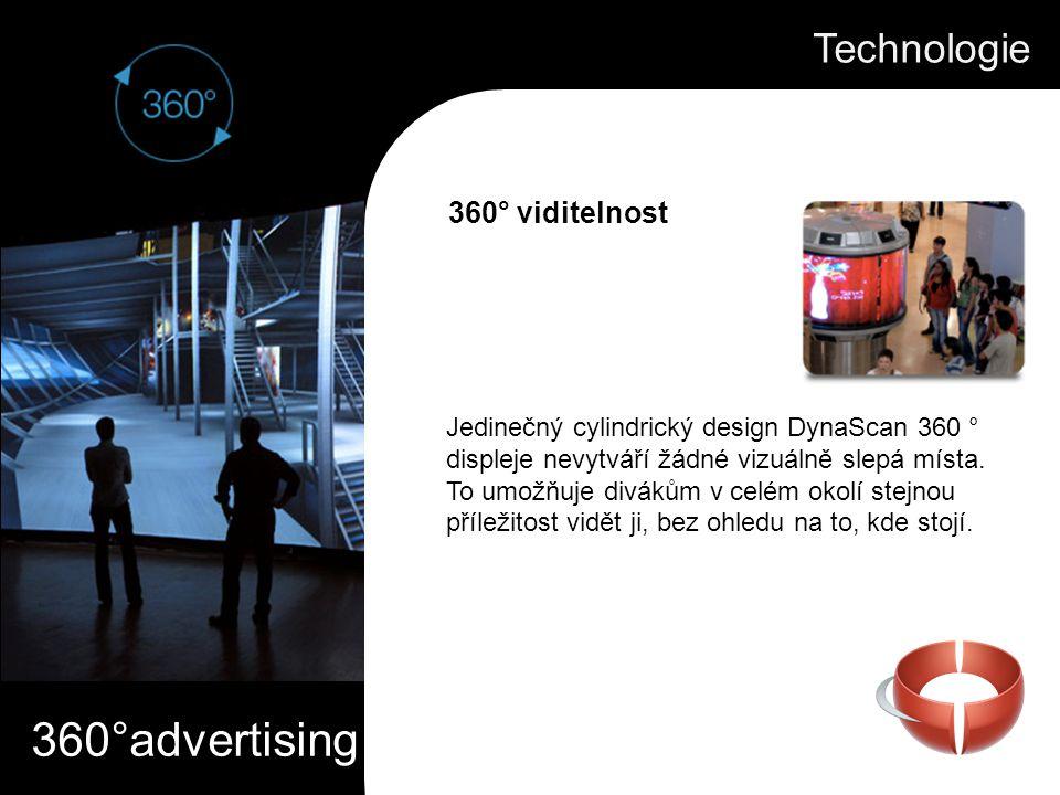 360°advertising Jedinečný cylindrický design DynaScan 360 ° displeje nevytváří žádné vizuálně slepá místa. To umožňuje divákům v celém okolí stejnou p