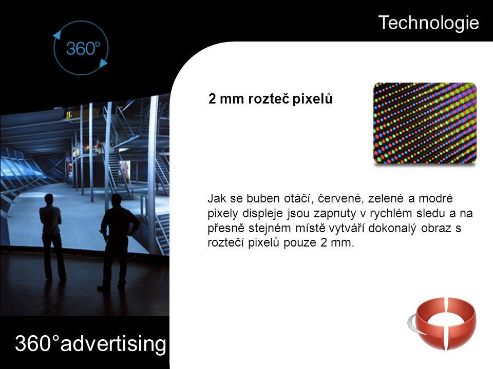 360°advertising Jak se buben otáčí, červené, zelené a modré pixely displeje jsou zapnuty v rychlém sledu a na přesně stejném místě vytváří dokonalý obraz s roztečí pixelů pouze 2 mm.
