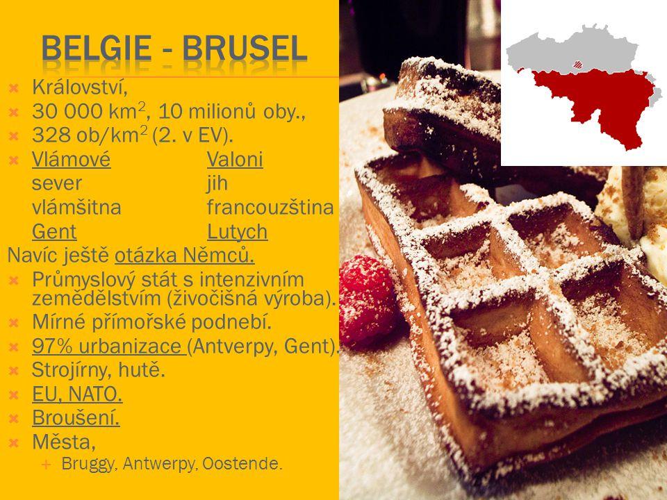  Holandsko – království,  40 000 km 2, 15 milionů oby.,  446 ob./km 2 (1.