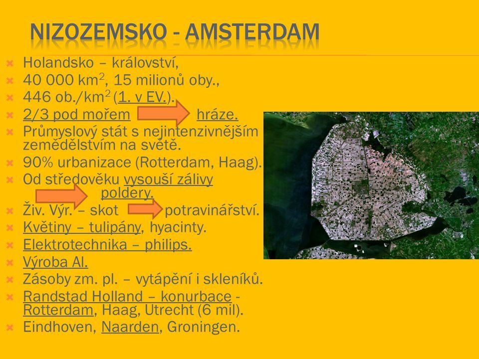  Holandsko – království,  40 000 km 2, 15 milionů oby.,  446 ob./km 2 (1. v EV.).  2/3 pod mořemhráze.  Průmyslový stát s nejintenzivnějším zeměd
