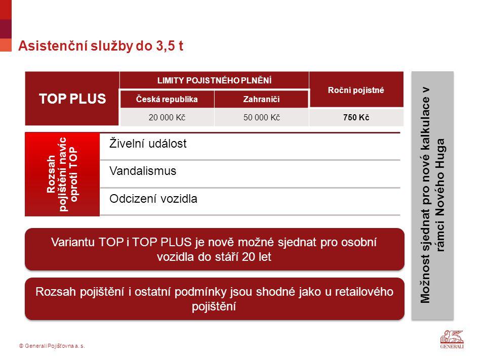 © Generali Pojišťovna a. s. Asistenční služby do 3,5 t TOP PLUS LIMITY POJISTNÉHO PLNĚNÍ Roční pojistné Česká republikaZahraničí 20 000 Kč50 000 Kč750