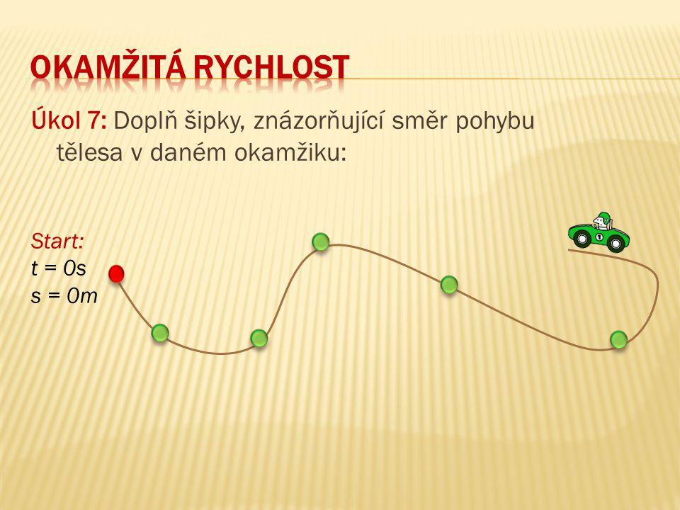 Úkol 7: Doplň šipky, znázorňující směr pohybu tělesa v daném okamžiku: Start: t = 0s s = 0m
