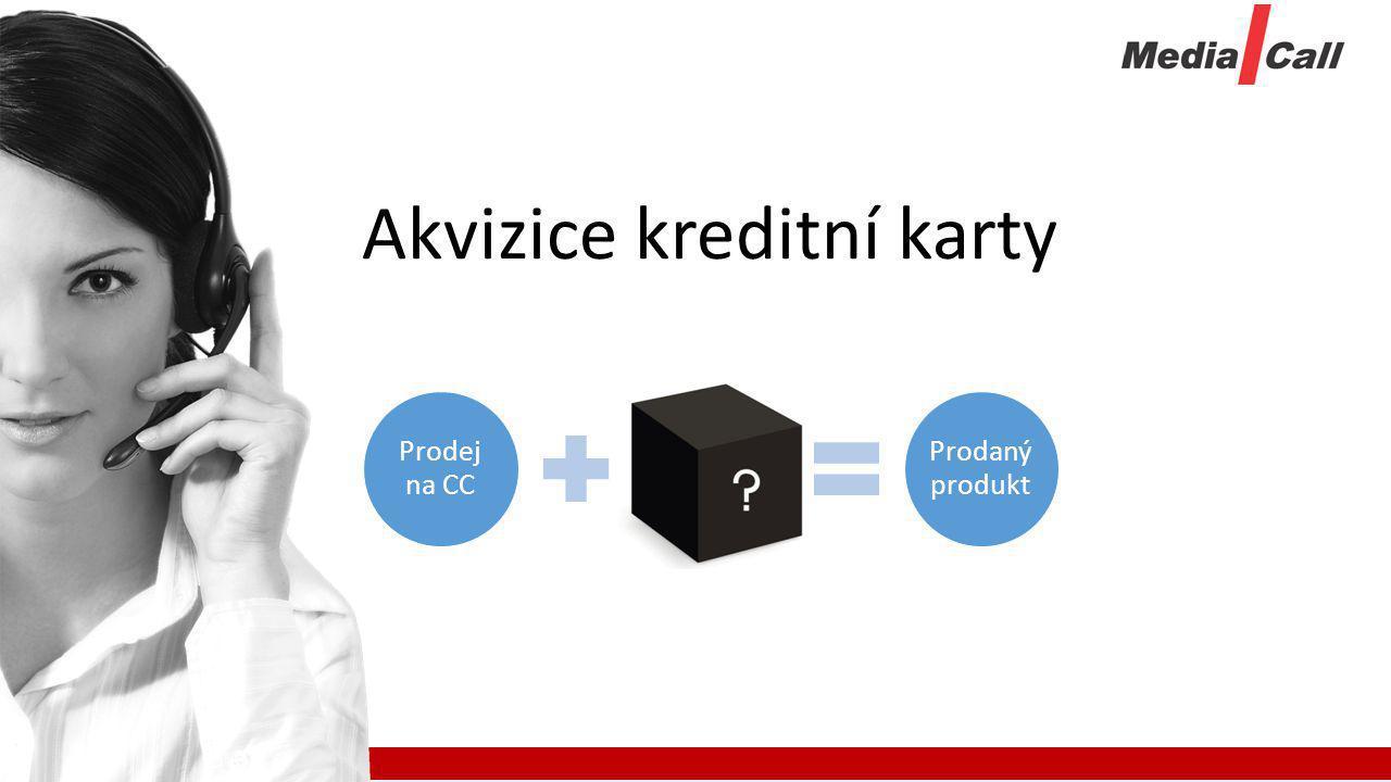 Prodej na CC Kurýr Prodaný produkt Akvizice kreditní karty