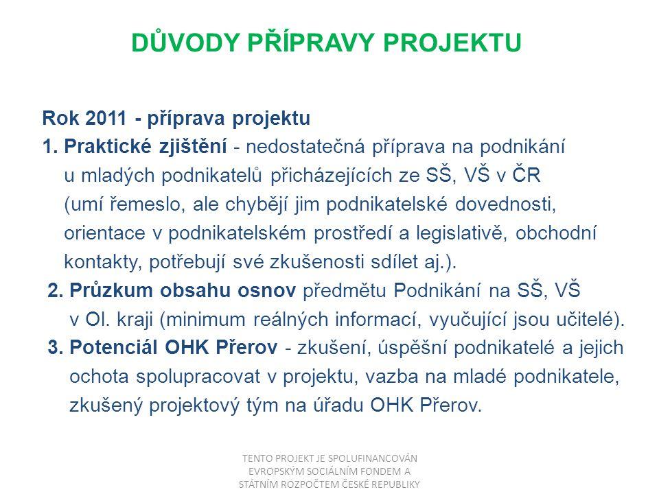 DŮVODY PŘÍPRAVY PROJEKTU Rok 2011 - příprava projektu 1.