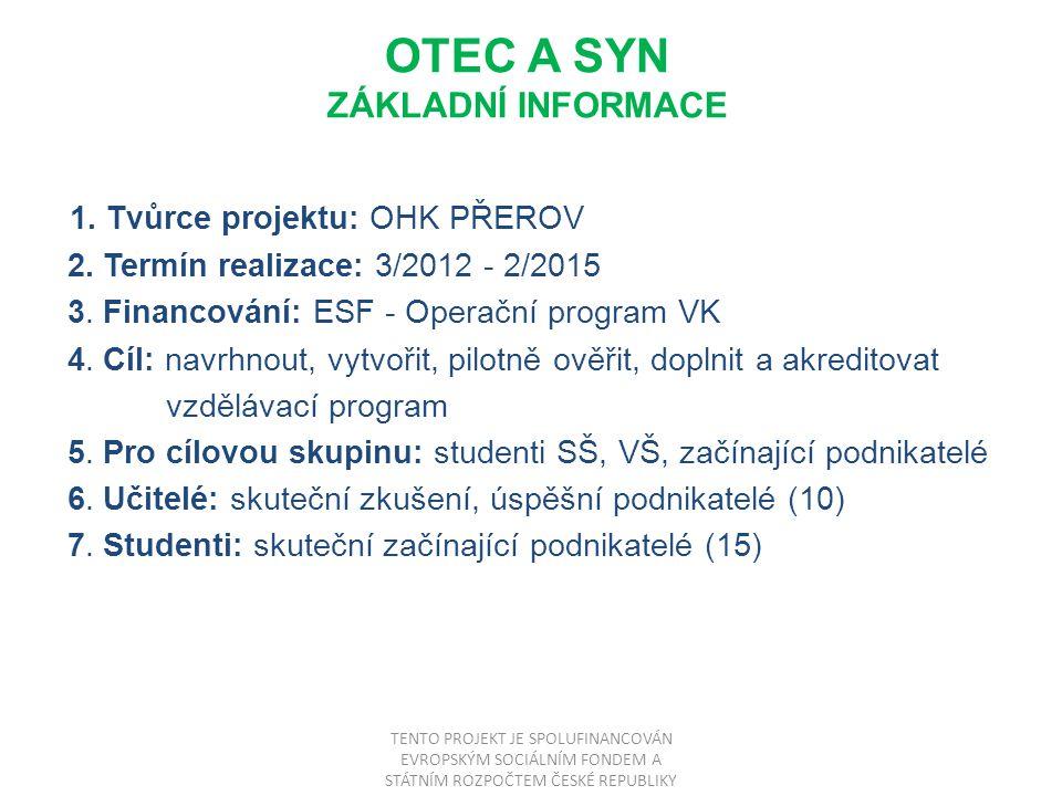 OTEC A SYN ZÁKLADNÍ INFORMACE 1. Tvůrce projektu: OHK PŘEROV 2.
