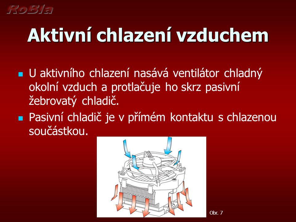 Aktivní chlazení vzduchem U aktivního chlazení nasává ventilátor chladný okolní vzduch a protlačuje ho skrz pasivní žebrovatý chladič. Pasivní chladič