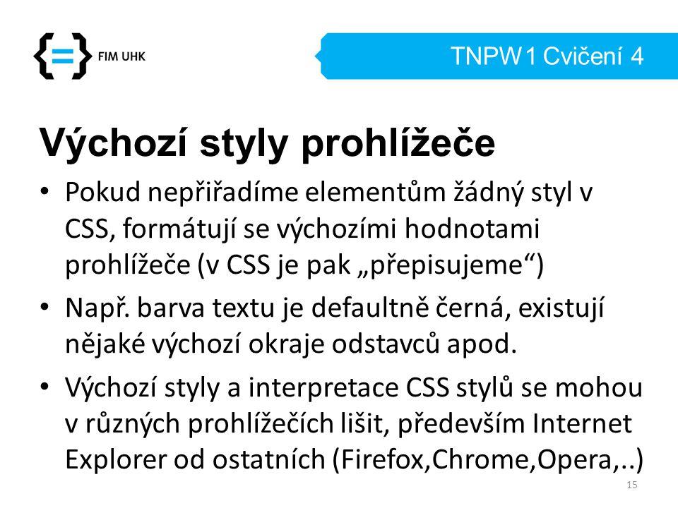 """TNPW1 Cvičení 4 Výchozí styly prohlížeče Pokud nepřiřadíme elementům žádný styl v CSS, formátují se výchozími hodnotami prohlížeče (v CSS je pak """"přep"""