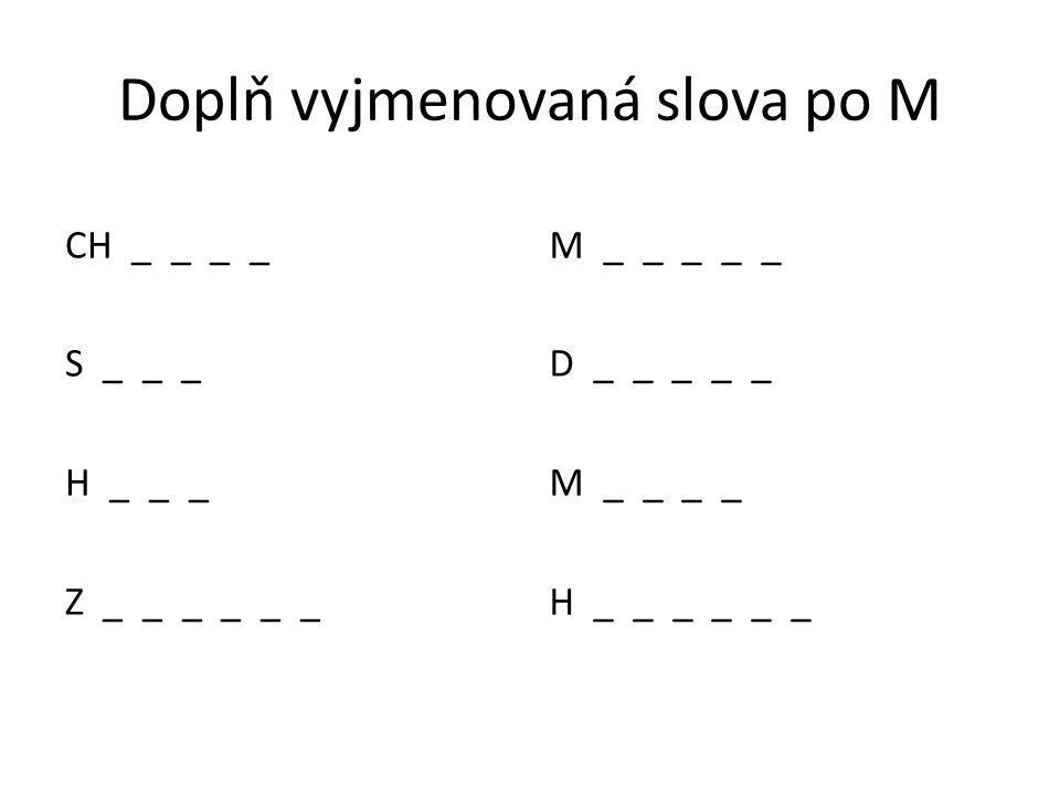 Doplň vyjmenovaná slova po M CH _ _ _ _ S _ _ _ H _ _ _ Z _ _ _ _ _ _ M _ _ _ _ _ D _ _ _ _ _ M _ _ _ _ H _ _ _ _ _ _