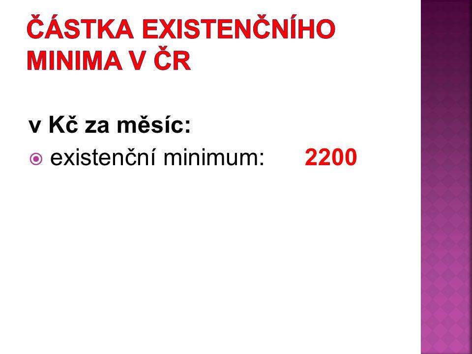 v Kč za měsíc:  existenční minimum: 2200