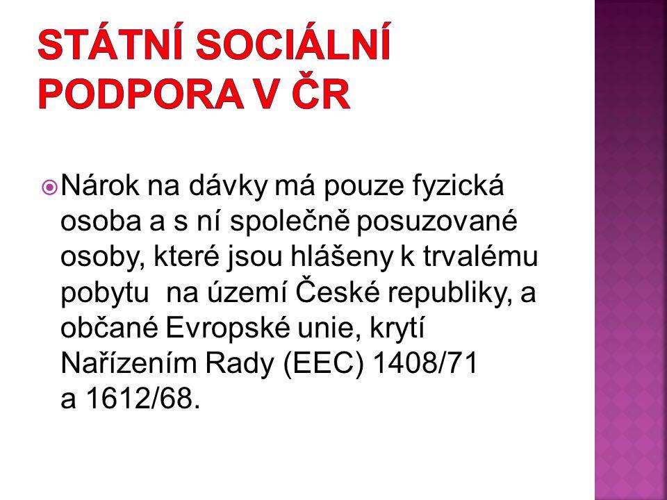  Nárok na dávky má pouze fyzická osoba a s ní společně posuzované osoby, které jsou hlášeny k trvalému pobytu na území České republiky, a občané Evro