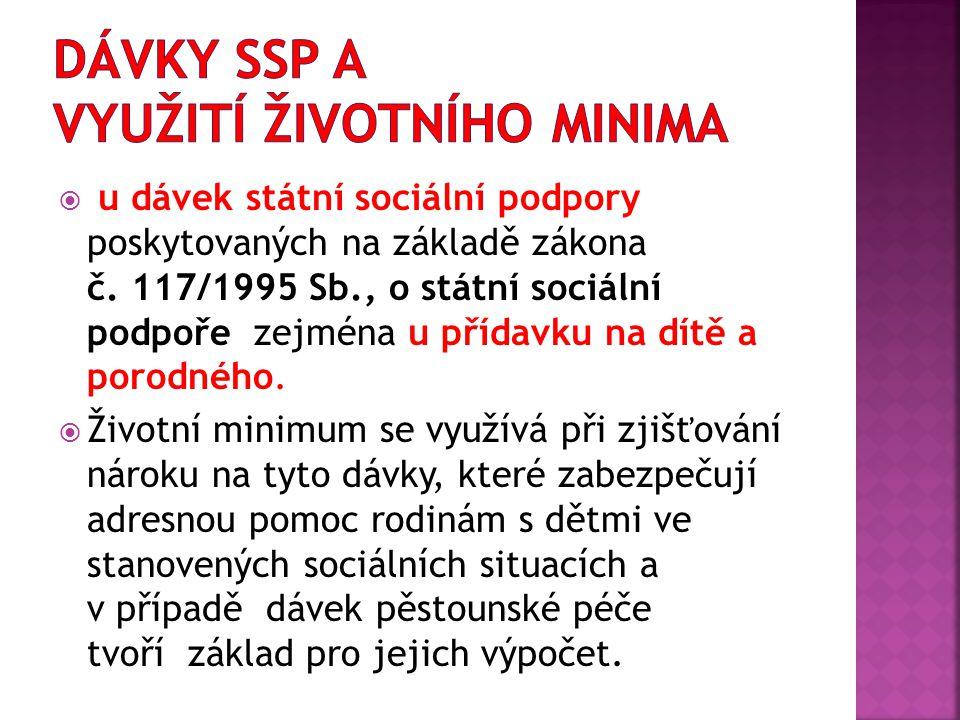  u dávek státní sociální podpory poskytovaných na základě zákona č. 117/1995 Sb., o státní sociální podpoře zejména u přídavku na dítě a porodného. 