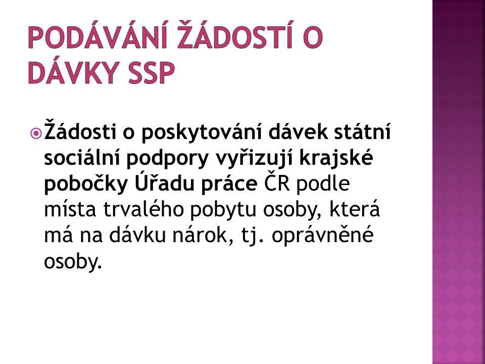  Žádosti o poskytování dávek státní sociální podpory vyřizují krajské pobočky Úřadu práce ČR podle místa trvalého pobytu osoby, která má na dávku nár