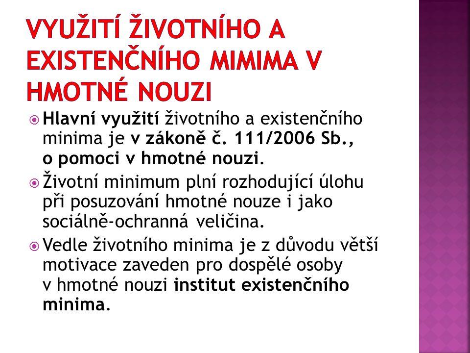  Hlavní využití životního a existenčního minima je v zákoně č. 111/2006 Sb., o pomoci v hmotné nouzi.  Životní minimum plní rozhodující úlohu při po