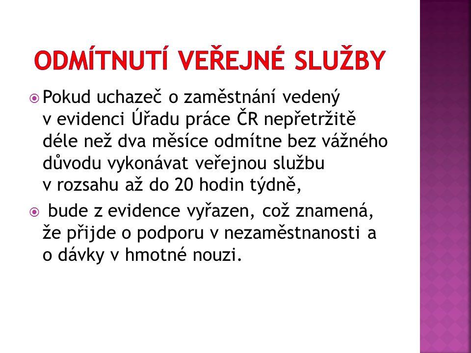  Pokud uchazeč o zaměstnání vedený v evidenci Úřadu práce ČR nepřetržitě déle než dva měsíce odmítne bez vážného důvodu vykonávat veřejnou službu v r