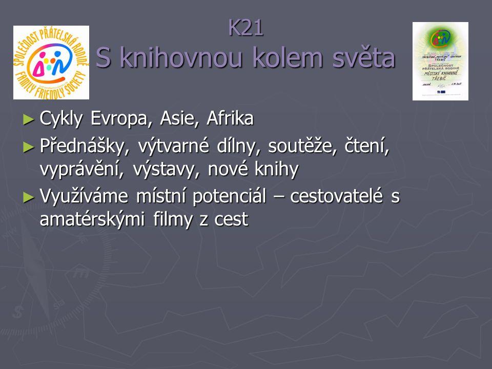 K21 S knihovnou kolem světa ► Cykly Evropa, Asie, Afrika ► Přednášky, výtvarné dílny, soutěže, čtení, vyprávění, výstavy, nové knihy ► Využíváme místn