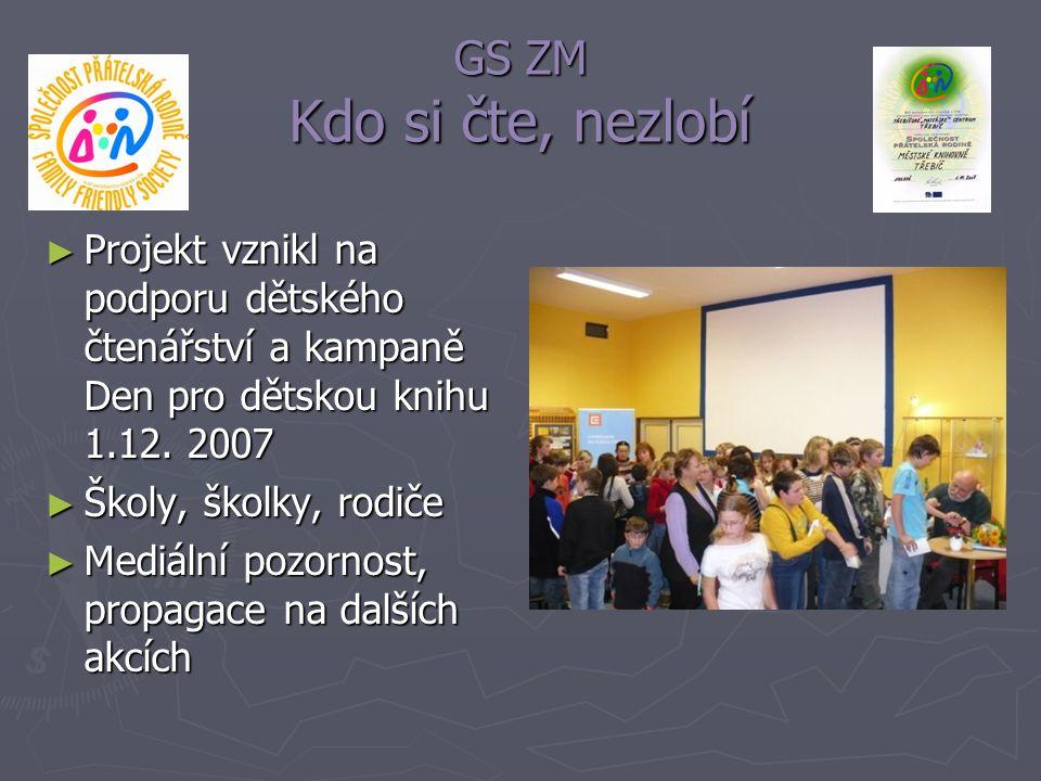 GS ZM Kdo si čte, nezlobí ► Projekt vznikl na podporu dětského čtenářství a kampaně Den pro dětskou knihu 1.12. 2007 ► Školy, školky, rodiče ► Mediáln