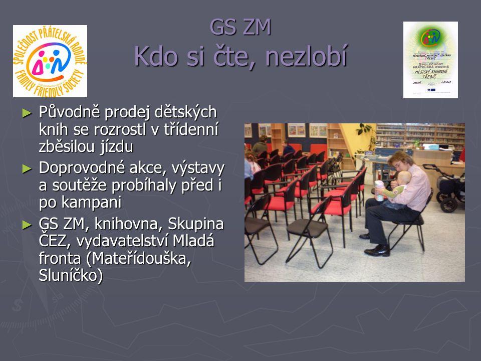 GS ZM Kdo si čte, nezlobí ► Původně prodej dětských knih se rozrostl v třídenní zběsilou jízdu ► Doprovodné akce, výstavy a soutěže probíhaly před i p