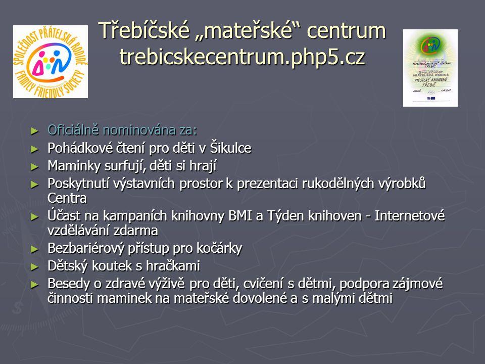 """Třebíčské """"mateřské"""" centrum trebicskecentrum.php5.cz ► Oficiálně nominována za: ► Pohádkové čtení pro děti v Šikulce ► Maminky surfují, děti si hrají"""