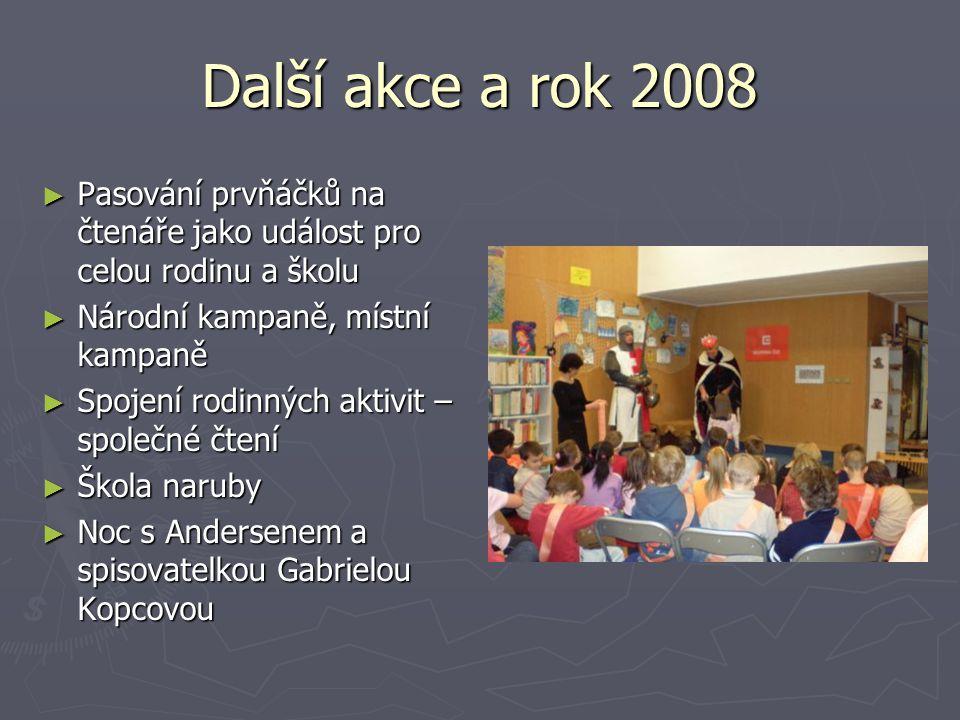 Další akce a rok 2008 ► Pasování prvňáčků na čtenáře jako událost pro celou rodinu a školu ► Národní kampaně, místní kampaně ► Spojení rodinných aktiv