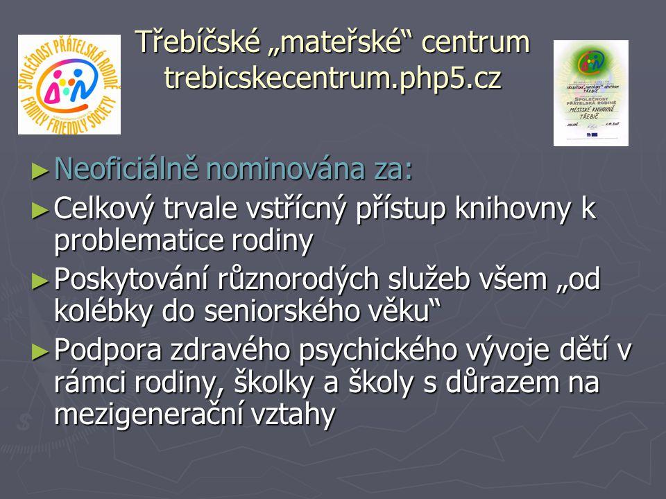 """Třebíčské """"mateřské"""" centrum trebicskecentrum.php5.cz ► Neoficiálně nominována za: ► Celkový trvale vstřícný přístup knihovny k problematice rodiny ►"""