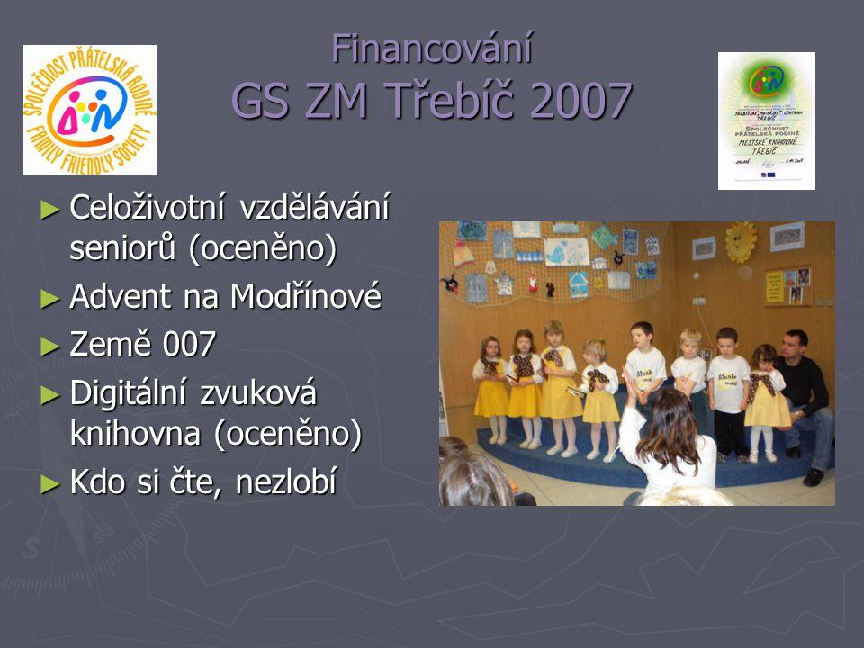 Financování GS ZM Třebíč 2007 ► Celoživotní vzdělávání seniorů (oceněno) ► Advent na Modřínové ► Země 007 ► Digitální zvuková knihovna (oceněno) ► Kdo
