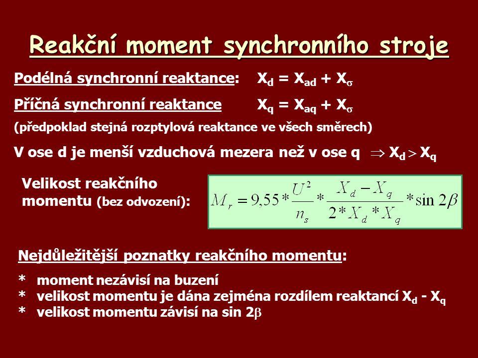 Reakční moment synchronního stroje Podélná synchronní reaktance:X d = X ad + X  Příčná synchronní reaktanceX q = X aq + X  (předpoklad stejná rozpty