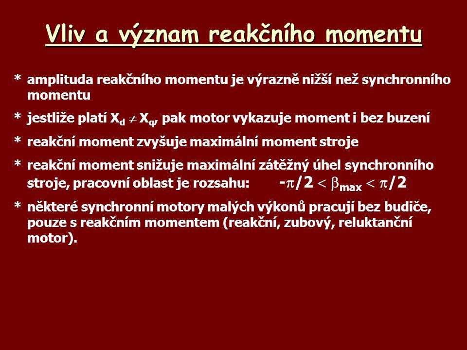 Vliv a význam reakčního momentu *amplituda reakčního momentu je výrazně nižší než synchronního momentu *jestliže platí X d  X q, pak motor vykazuje m