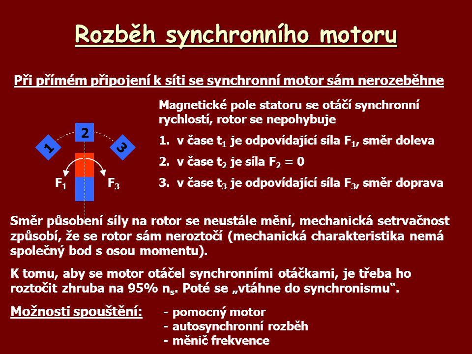 Rozběh synchronního motoru Při přímém připojení k síti se synchronní motor sám nerozeběhne F3F3 1 2 3 F1F1 Magnetické pole statoru se otáčí synchronní