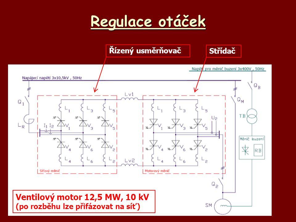 Regulace otáček Řízený usměrňovač Střídač Ventilový motor 12,5 MW, 10 kV (po rozběhu lze přifázovat na síť)