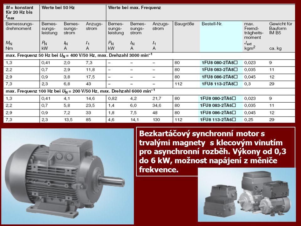 Bezkartáčový synchronní motor s trvalými magnety s klecovým vinutím pro asynchronní rozběh. Výkony od 0,3 do 6 kW, možnost napájení z měniče frekvence