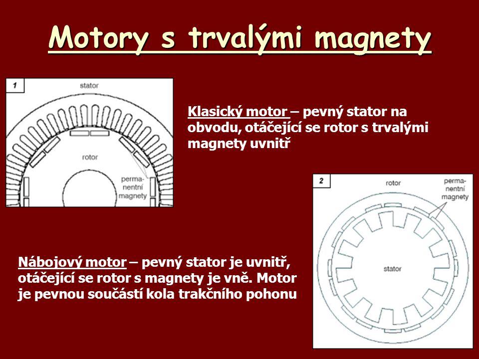 Motory s trvalými magnety Klasický motor – pevný stator na obvodu, otáčející se rotor s trvalými magnety uvnitř Nábojový motor – pevný stator je uvnit