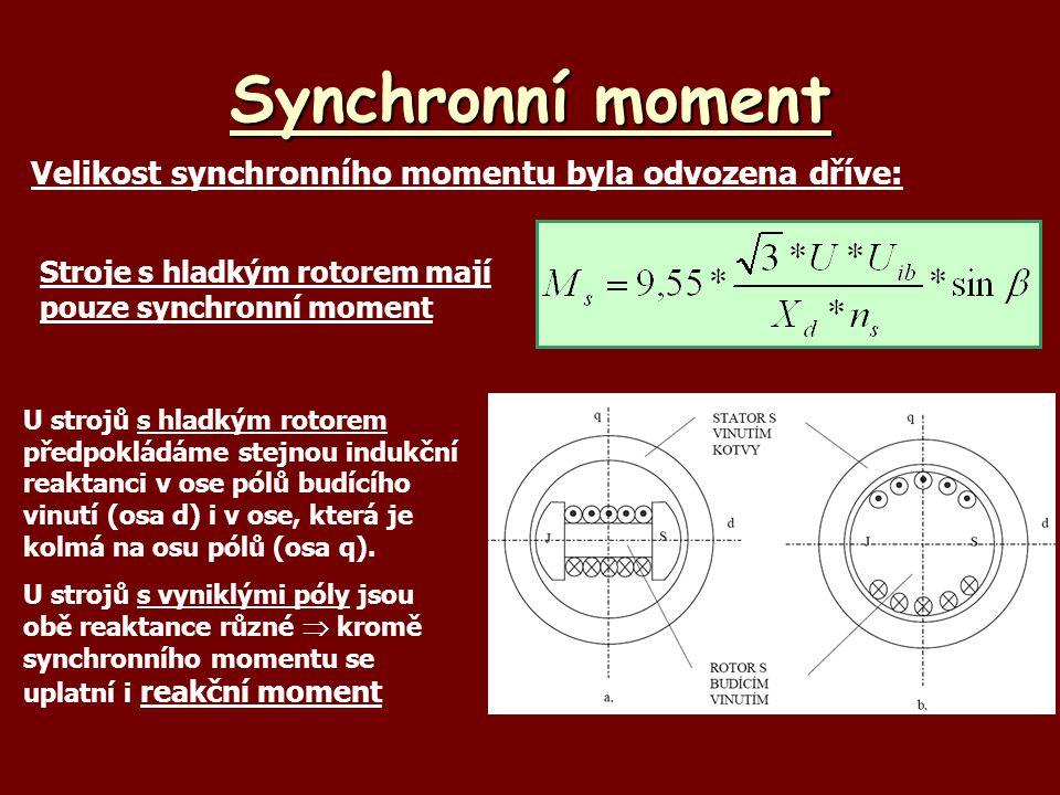 Reakční moment synchronního stroje Podélná synchronní reaktance:X d = X ad + X  Příčná synchronní reaktanceX q = X aq + X  (předpoklad stejná rozptylová reaktance ve všech směrech) V ose d je menší vzduchová mezera než v ose q  X d  X q Velikost reakčního momentu (bez odvození) : Nejdůležitější poznatky reakčního momentu: *moment nezávisí na buzení *velikost momentu je dána zejména rozdílem reaktancí X d - X q * velikost momentu závisí na sin 2 