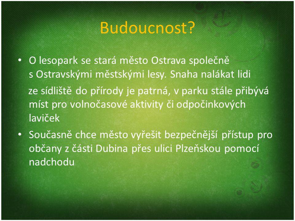 Budoucnost? O lesopark se stará město Ostrava společně s Ostravskými městskými lesy. Snaha nalákat lidi ze sídliště do přírody je patrná, v parku stál