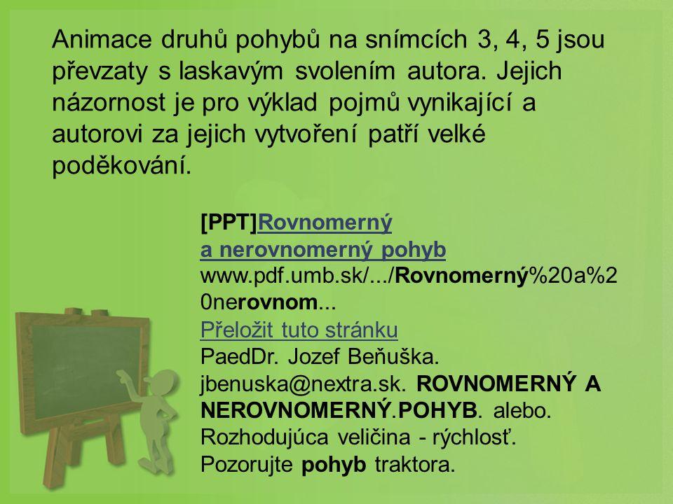 [PPT]Rovnomerný a nerovnomerný pohybRovnomerný a nerovnomerný pohyb www.pdf.umb.sk/.../Rovnomerný%20a%2 0nerovnom... Přeložit tuto stránku PaedDr. Jo
