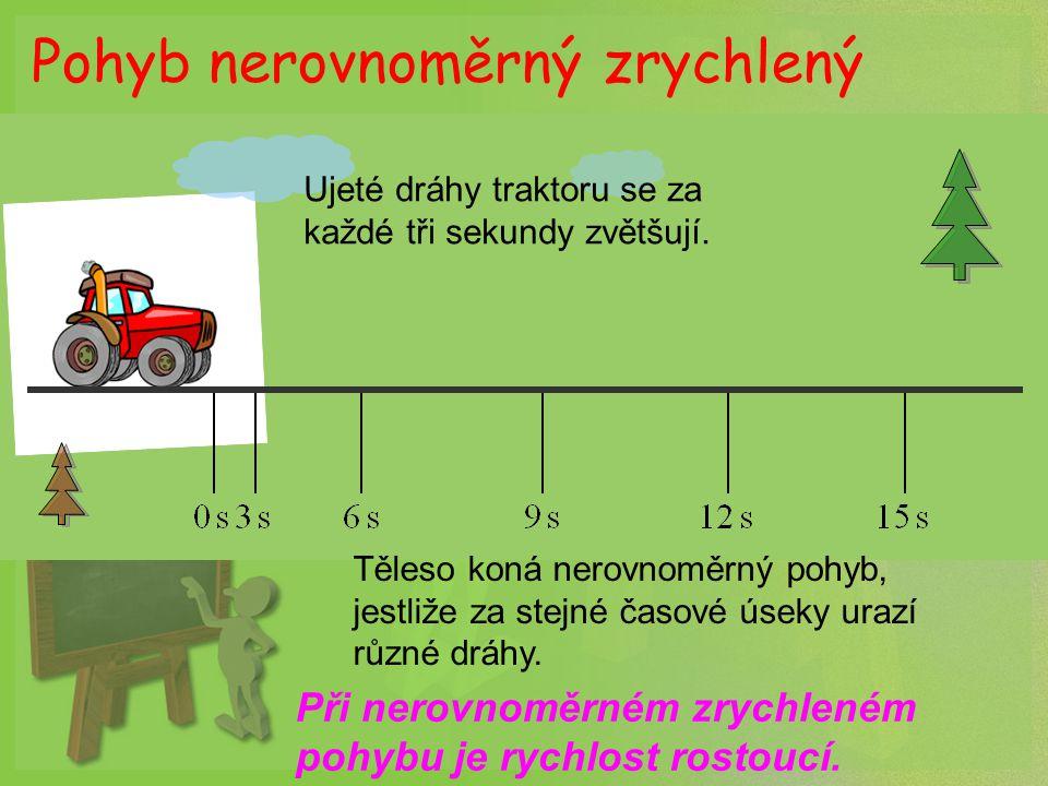 Pohyb nerovnoměrný zpomalený Ujeté dráhy traktoru se za každé tři sekundy zmenšují.