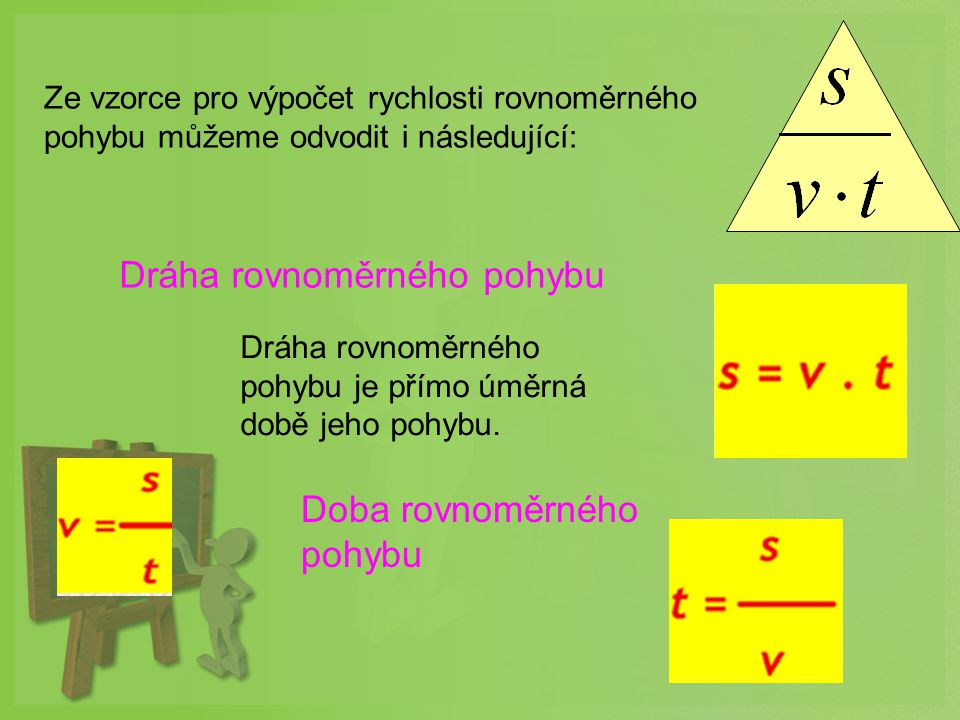 Ze vzorce pro výpočet rychlosti rovnoměrného pohybu můžeme odvodit i následující: Dráha rovnoměrného pohybu je přímo úměrná době jeho pohybu.