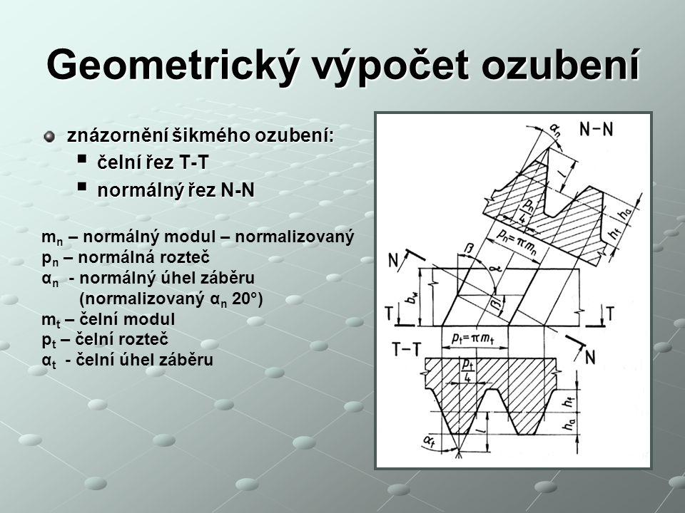 Geometrický výpočet ozubení znázornění šikmého ozubení:  čelní řez T-T  normálný řez N-N m n – normálný modul – normalizovaný p n – normálná rozteč