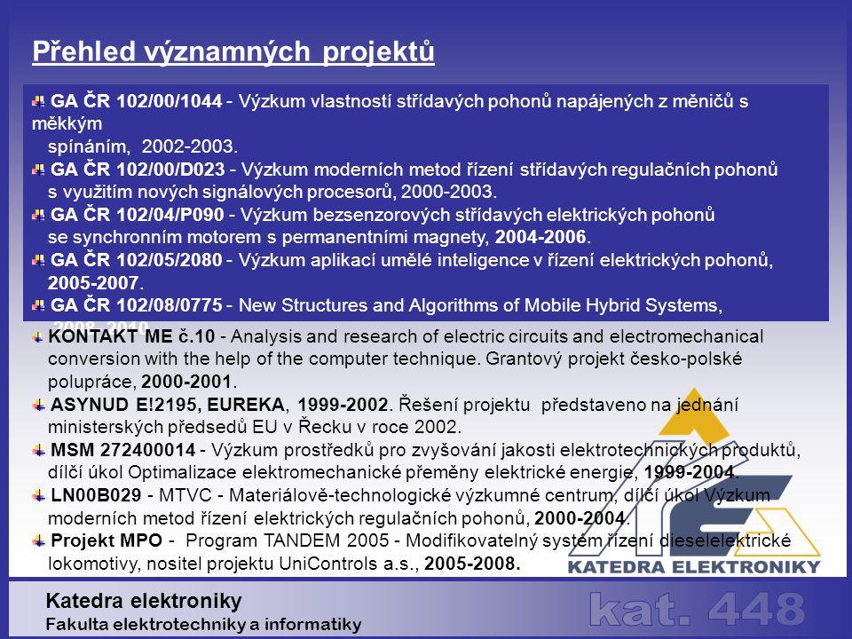 Výzkumná činnost Katedra elektroniky Fakulta elektrotechniky a informatiky