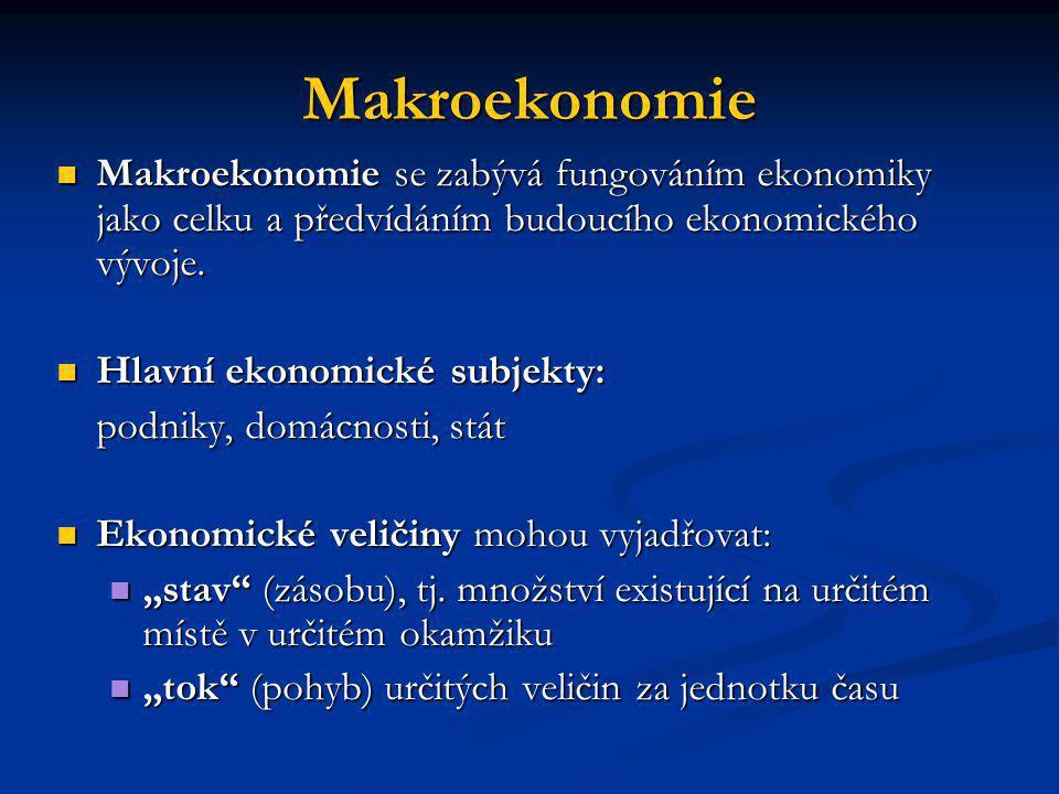 Makroekonomie Makroekonomie se zabývá fungováním ekonomiky jako celku a předvídáním budoucího ekonomického vývoje. Makroekonomie se zabývá fungováním