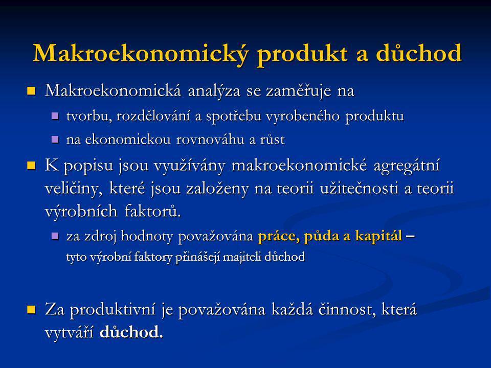 Makroekonomický produkt a důchod Makroekonomická analýza se zaměřuje na Makroekonomická analýza se zaměřuje na tvorbu, rozdělování a spotřebu vyrobené