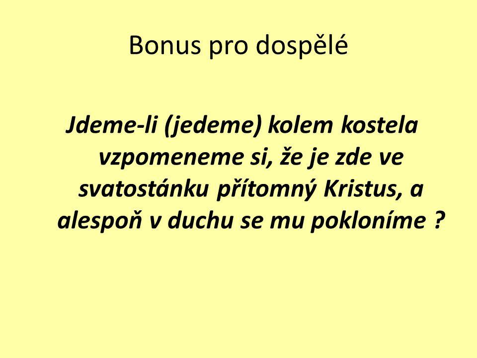 Bonus pro dospělé Jdeme-li (jedeme) kolem kostela vzpomeneme si, že je zde ve svatostánku přítomný Kristus, a alespoň v duchu se mu pokloníme