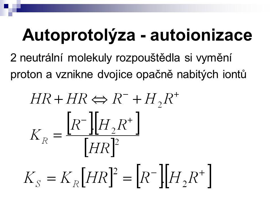 Autoprotolýza - autoionizace 2 neutrální molekuly rozpouštědla si vymění proton a vznikne dvojice opačně nabitých iontů