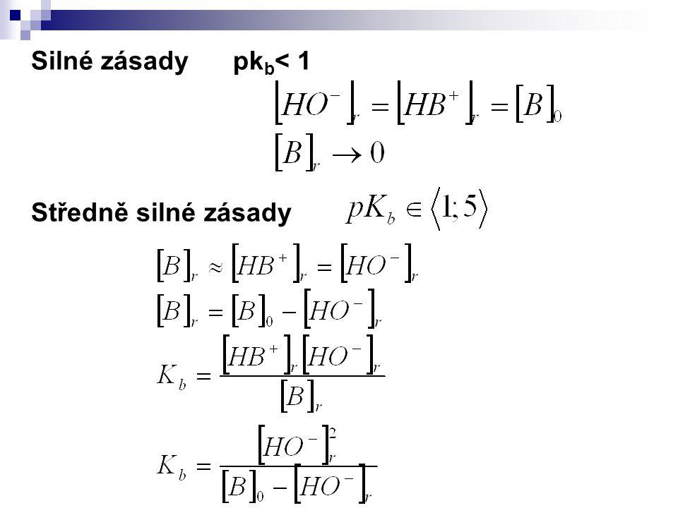 Silné zásady pk b < 1 Středně silné zásady