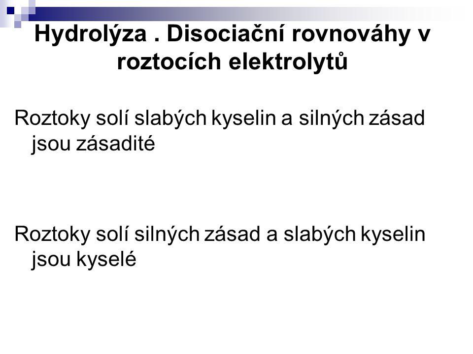 Hydrolýza. Disociační rovnováhy v roztocích elektrolytů Roztoky solí slabých kyselin a silných zásad jsou zásadité Roztoky solí silných zásad a slabýc