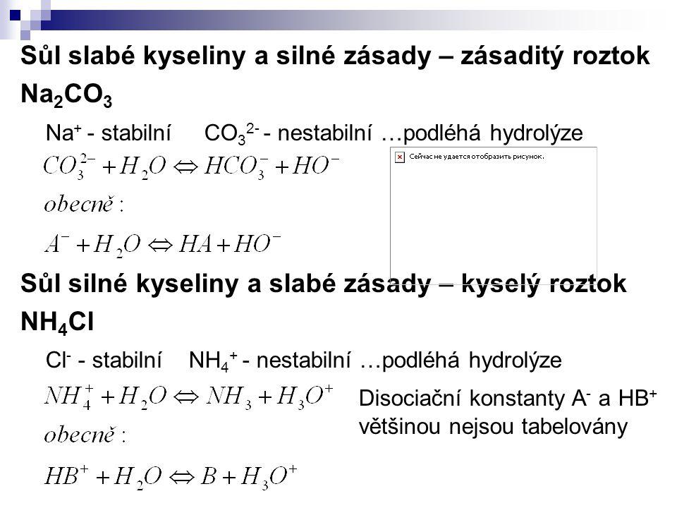 Sůl slabé kyseliny a silné zásady – zásaditý roztok Na 2 CO 3 Na + - stabilní CO 3 2- - nestabilní …podléhá hydrolýze Sůl silné kyseliny a slabé zásad