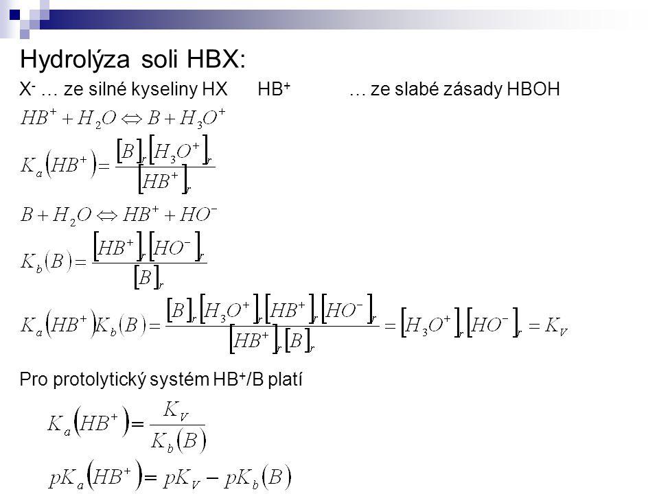 Hydrolýza soli HBX: X - … ze silné kyseliny HX HB + … ze slabé zásady HBOH Pro protolytický systém HB + /B platí