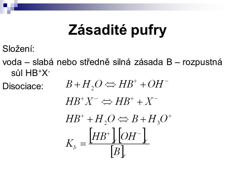 Zásadité pufry Složení: voda – slabá nebo středně silná zásada B – rozpustná sůl HB + X - Disociace: