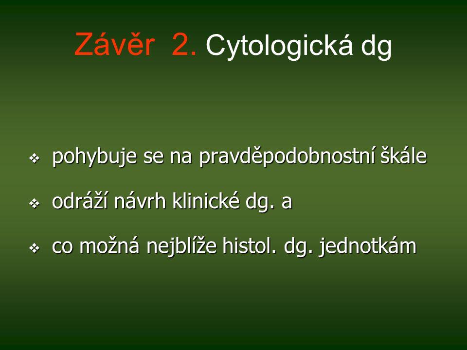 Závěr 2.Cytologická dg  pohybuje se na pravděpodobnostní škále  odráží návrh klinické dg.